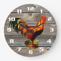 Vintage Rooster Kitchen Large Clock
