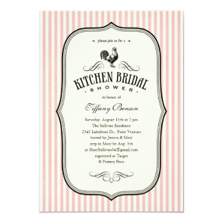 Vintage Rooster Kitchen Shower Invitations