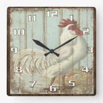 Vintage Rooster on a Rustic Old Wooden Boards Square Wall Clock