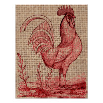 Vintage Rooster on Jute Background Poster