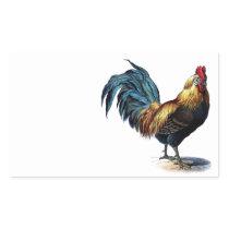 Vintage Rooster Rectangular Sticker