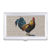 Vintage Rooster Retro Chicken Antique Text Birds Business Card Case