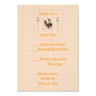 Vintage Rooster Ride 2 3.5x5 Paper Invitation Card