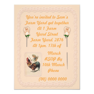 Vintage Rooster Ride 2 4.25x5.5 Paper Invitation Card