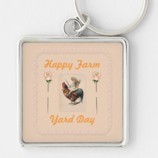 Vintage Rooster Ride 2 Silver-Colored Square Keychain