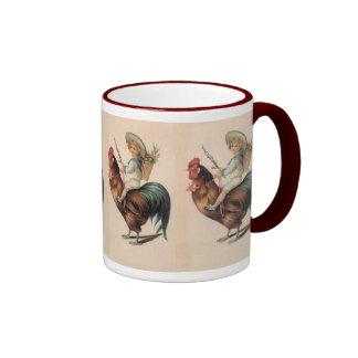 Vintage Rooster Ride Ringer Coffee Mug