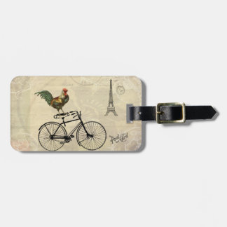 Vintage Rooster Riding a Bike by the Eiffel Tower Bag Tag