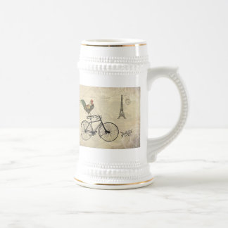Vintage Rooster Riding a Bike by the Eiffel Tower Beer Stein