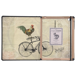 Vintage Rooster Riding a Bike by the Eiffel Tower Cases For iPad