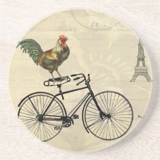 Vintage Rooster Riding a Bike by the Eiffel Tower Beverage Coasters