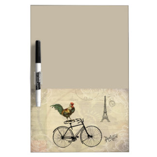 Vintage Rooster Riding a Bike by the Eiffel Tower Dry-Erase Whiteboard