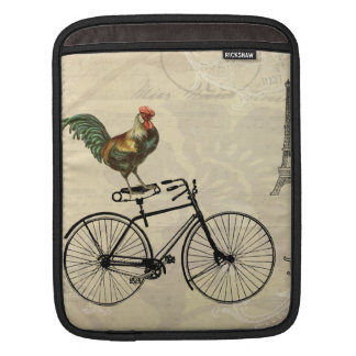 Vintage Rooster Riding a Bike by the Eiffel Tower Sleeve For iPads