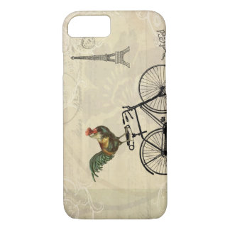 Vintage Rooster Riding a Bike by the Eiffel Tower iPhone 8/7 Case
