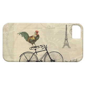 Vintage Rooster Riding a Bike by the Eiffel Tower iPhone SE/5/5s Case