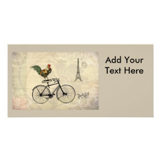 Vintage Rooster Riding a Bike by the Eiffel Tower Custom Photo Card