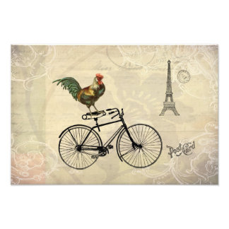 Vintage Rooster Riding a Bike by the Eiffel Tower Art Photo