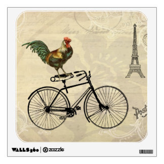 Vintage Rooster Riding a Bike by the Eiffel Tower Wall Decal