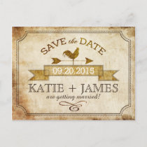 Vintage Rooster Rustic Country Save the Date Announcement Postcard