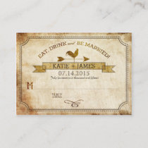 Vintage Rooster Rustic Country Wedding Place Cards