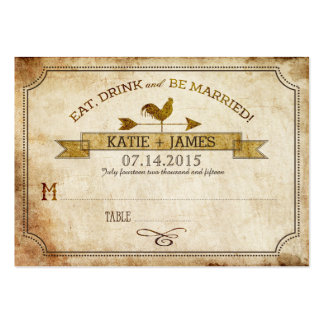 Vintage Rooster Rustic Country Wedding Place Cards Large Business Card