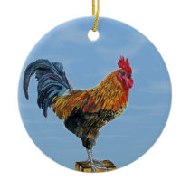 Vintage Rooster Sky Customize animal Chicken Ceramic Ornament