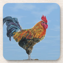 Vintage Rooster Sky Customize animal Chicken Coaster