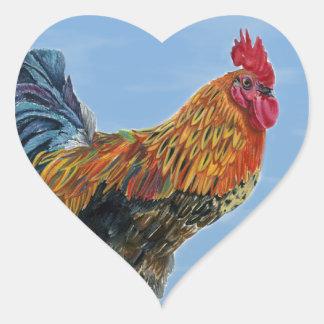 Vintage Rooster Sky Customize animal Chicken Heart Sticker