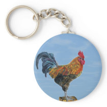 Vintage Rooster Sky Customize animal Chicken Keychain
