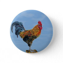 Vintage Rooster Sky Customize animal Chicken Pinback Button