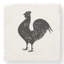 Vintage Rooster Stone Coaster