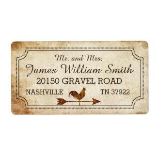 Vintage Rooster Weather Vane Rustic Wedding Label