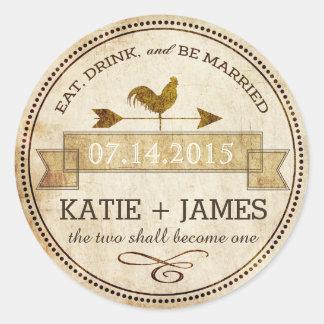 Vintage Rooster Weather Vane Rustic Wedding Label Classic Round Sticker