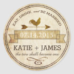 Vintage Rooster Weather Vane Rustic Wedding Label Classic Round Sticker