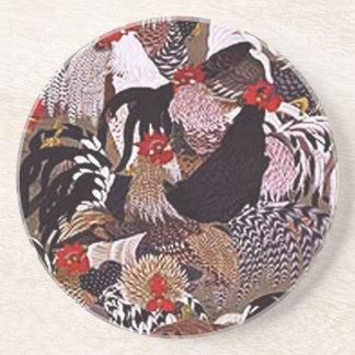 Vintage Roosters Art Coasters
