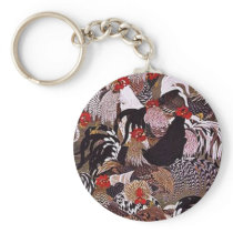 Vintage Roosters Art Keychain