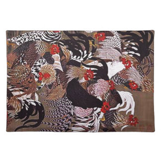Vintage Roosters Art Placemat