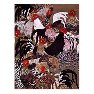 Vintage Roosters Art Postcard
