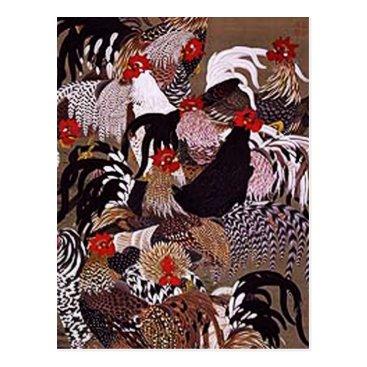 clonecire Vintage Roosters Art Postcard