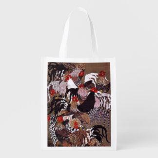 Vintage Roosters Art Grocery Bag