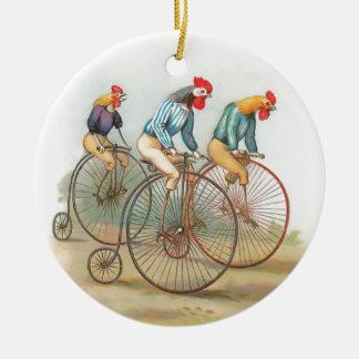 Vintage Roosters on Bikes Ceramic Ornament
