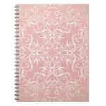 Vintage, rosa, floral, victorian, oro, elegante, spiral notebook