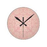 Vintage, rosa, floral, victorian, oro, elegante, reloj redondo mediano