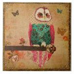 Vintage Rosa Shabby Owl Tile