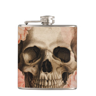 Vintage Rosa Skull Collage Flask