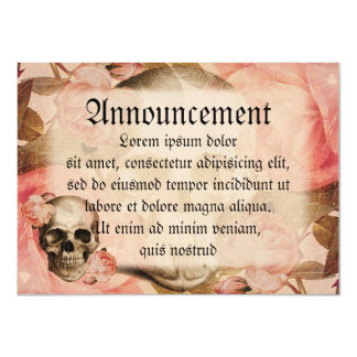 """Vintage Rosa Skull Collage 4.5"""" X 6.25"""" Invitation Card"""