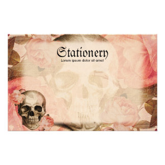 Vintage Rosa Skull Collage Stationery