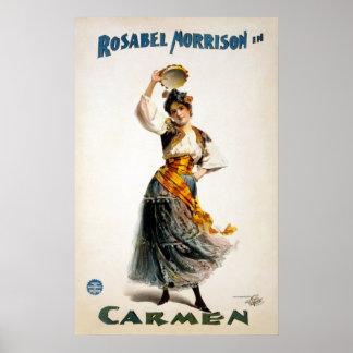 "Vintage Rosabel Morrison ""Carmen"" Theater Poster"