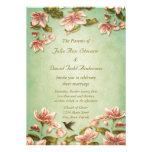 Vintage rosado de las azaleas en el boda verde de  comunicado personal