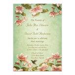 Vintage rosado de las azaleas en el boda verde de invitación 12,7 x 17,8 cm