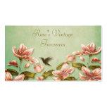 Vintage rosado de las azaleas en la niebla verde r tarjetas de negocios